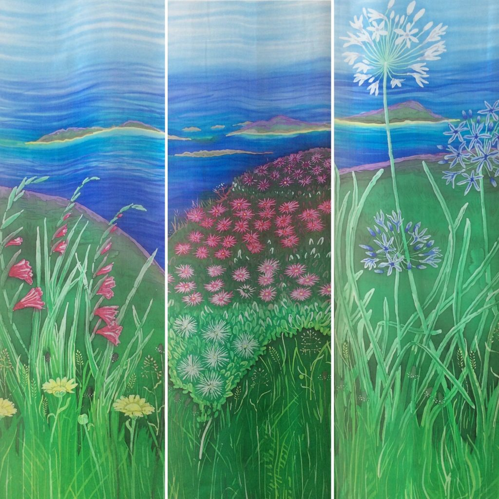 Three panels of Isles of Scilly flowers and views