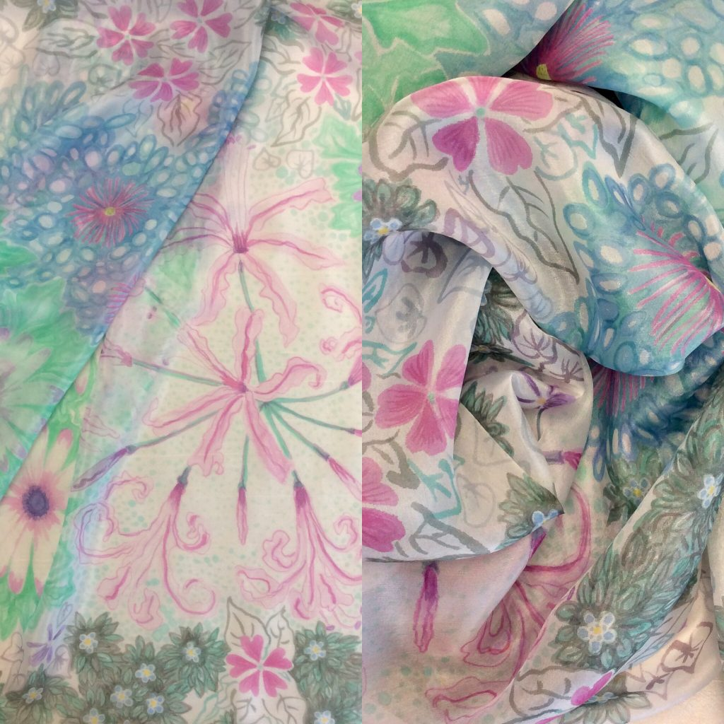Silk scarf with a design of Isles of Scilly flowers