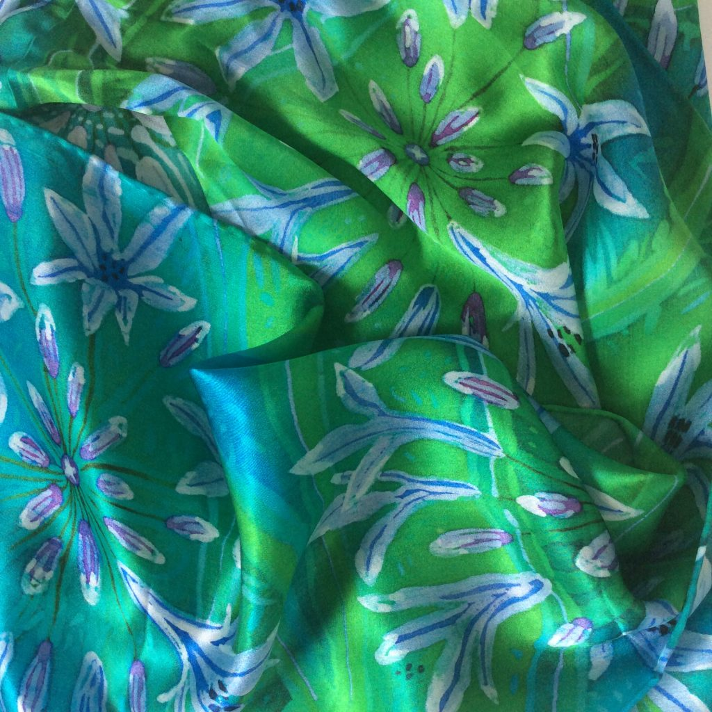 Printed agapanthus scarf