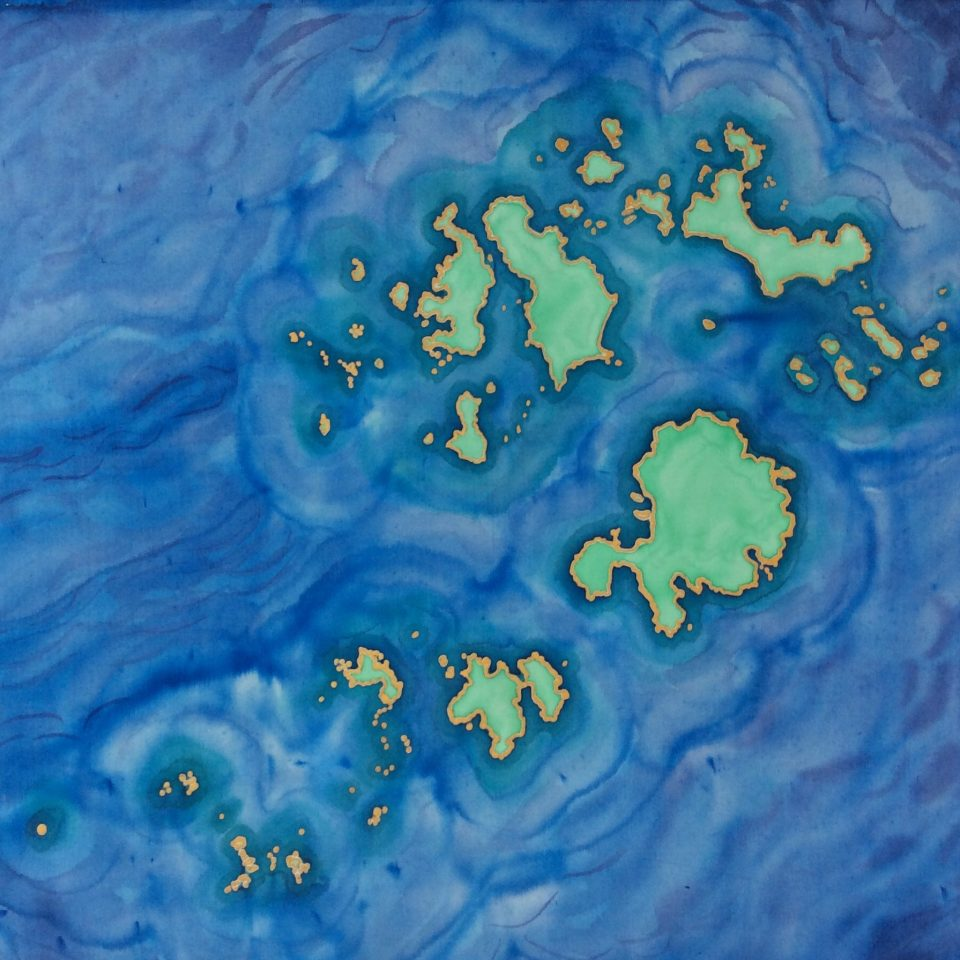 Silk painted map of the Isles of Scilly