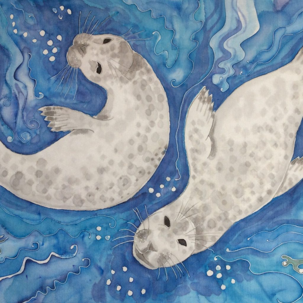 Postcard design of two Grey Atlantic Seals
