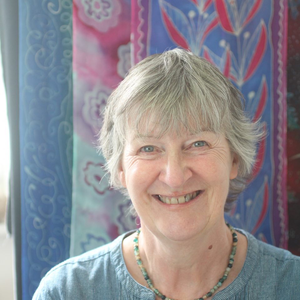 Liz Askins in her Scilly Scarves workshop